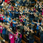 "The Blaze Craze has their ""U's up!"" awaiting a free throw during the regional semi-final game. Photo: Jack Sampson"