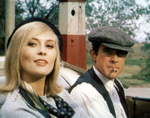 1968 file photo of Faye Dunaway and Warren Beatty in the movie BONNIE AND CLYDE. Courtesy of Warner Home Video.